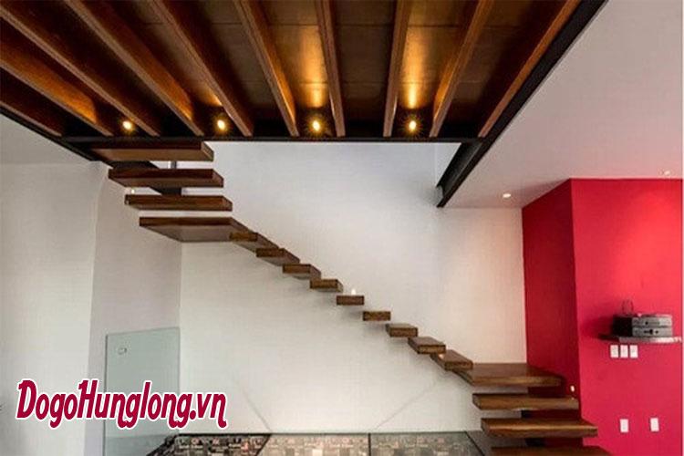 mẫu cầu thang gỗ hiện đại tiết kiệm diện tích tối đa