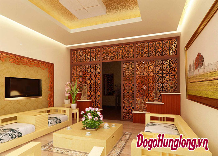 Liên kết hoàn hảo với vách ngăn phòng khách bằng gỗ đẹp
