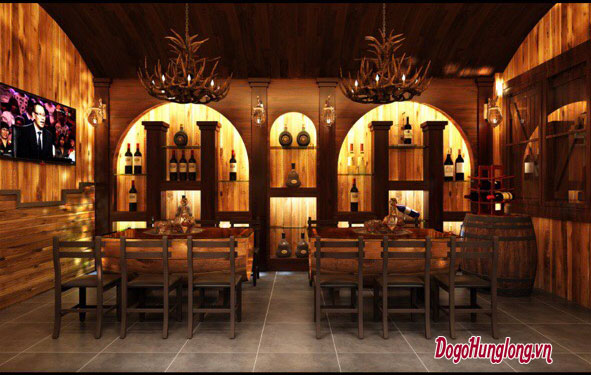 Thiết kế nhà hàng gỗ tự nhiên