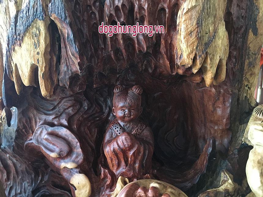 Tượng tam đa gỗ nu hương