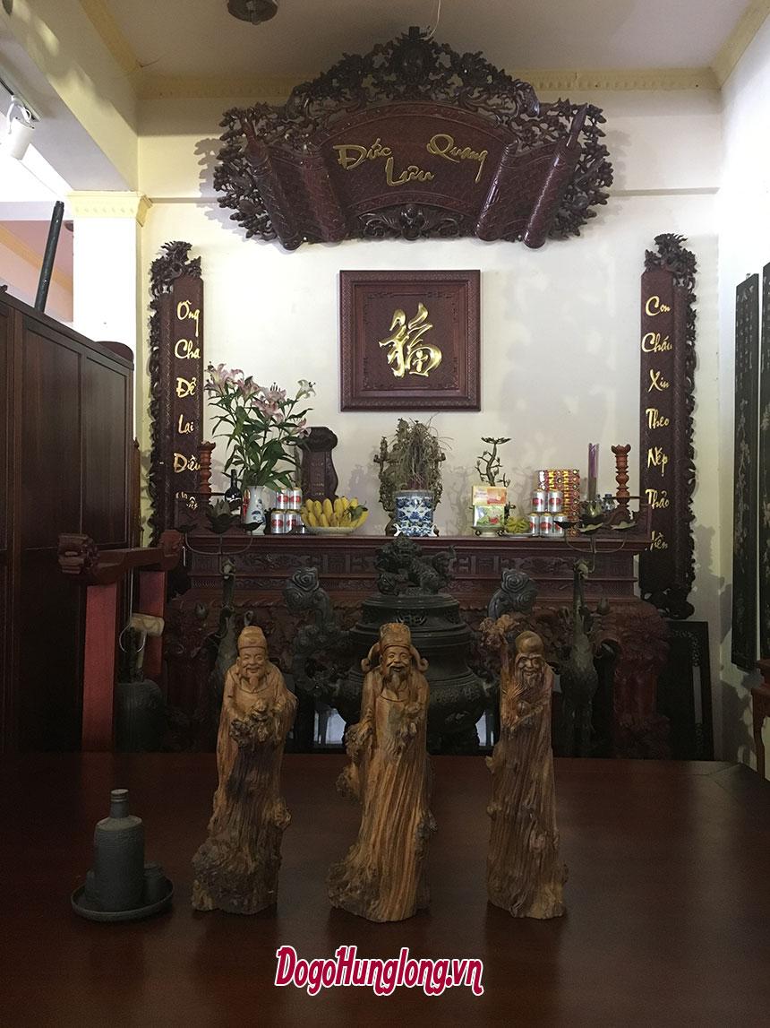 Tượng Phúc Lộc Thọ, gỗ Bách xanh, kích thước 50x20x20cm