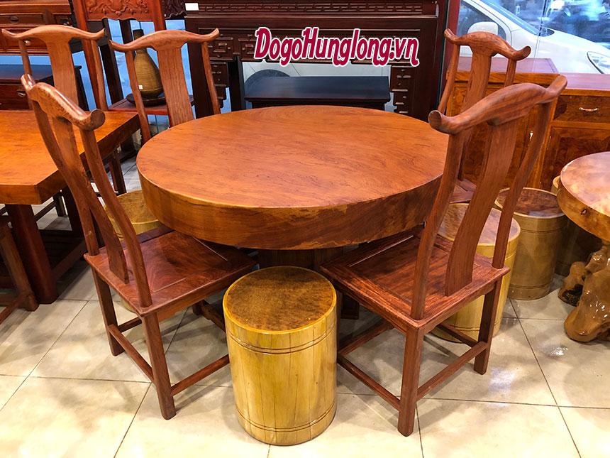 Bộ bàn ăn ghế tai quan, kết hợp ghế trụ