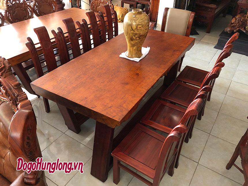 Bộ bàn ăn nguyên tấm gỗ cẩm