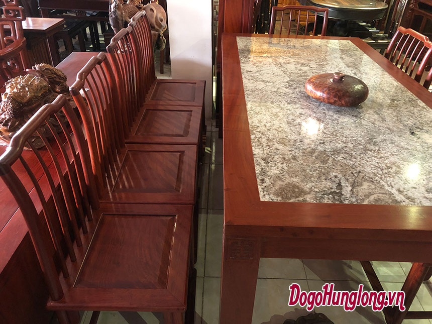 Bộ bàn ăn gỗ hương, mặt đá