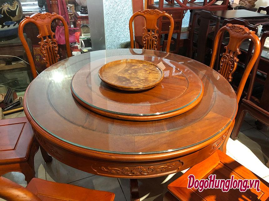 Bộ bàn ăn tròn 6 ghế gỗ hương