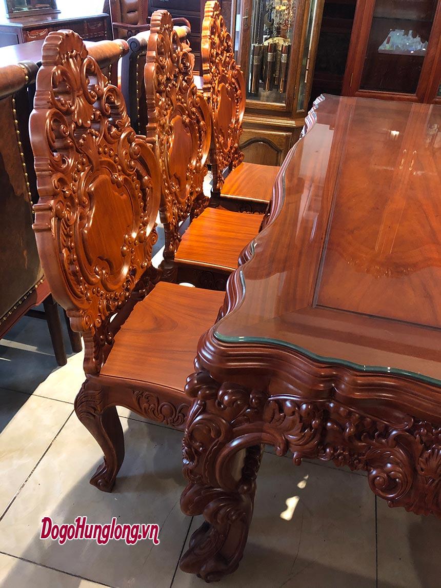 Bộ bàn ăn hoàng gia, gỗ hương.