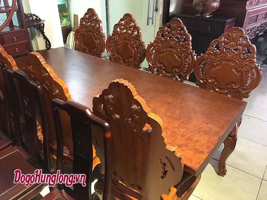 Bộ bàn ăn nguyên tấm gỗ cẩm lai