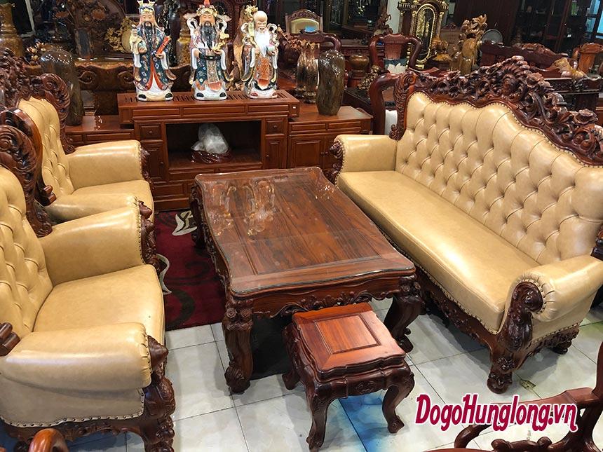 Bộ bàn ghế tân cổ điển, gỗ hương, ghế bọc da cao cấp. 2 ghế đơn, 1 ghế dài, 1 bàn.