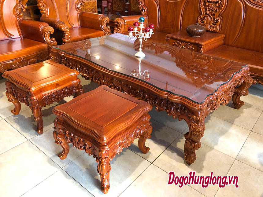 Bộ bàn ghế hoàng gia gỗ gõ