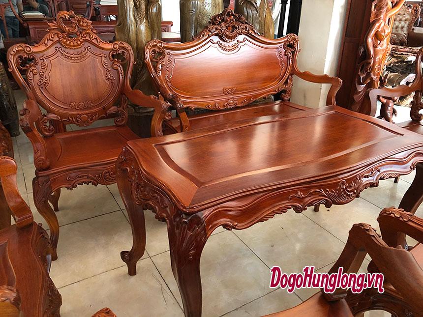 Mẫu ghế đời Louis 14, gỗ hương, lưng gỗ