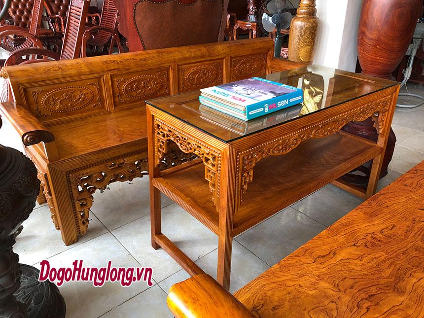 Bộ bàn ghế trường kỷ gỗ cẩm, 4 món mẫu 2