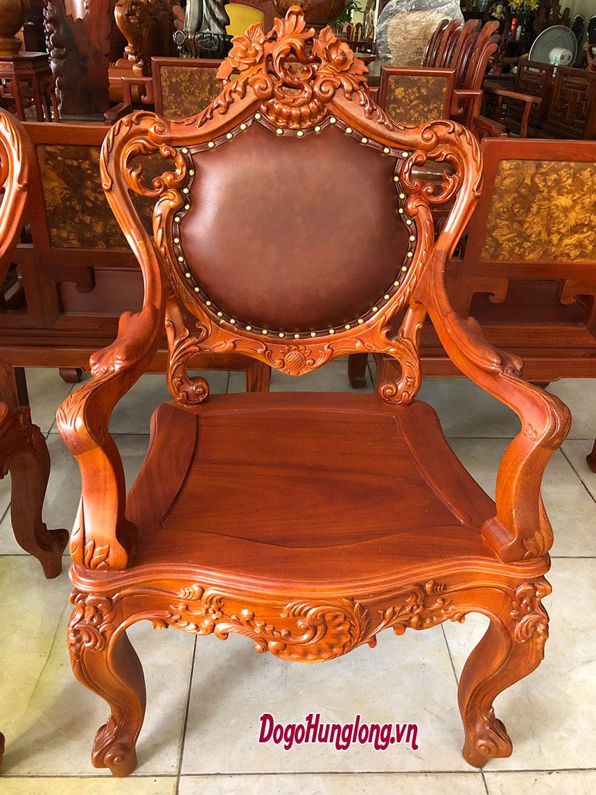 Mẫu ghế đời Louis 14, gỗ hương, lưng da