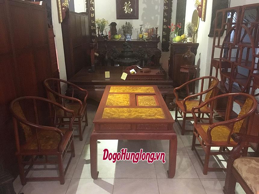 Bộ bàn ghế mặt gỗ nu