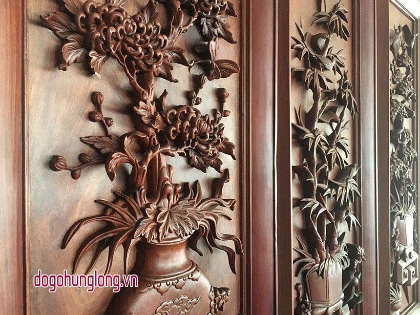 Tranh tứ quý gỗ hương, đục sâu 5,5cm, kt 40x120cm
