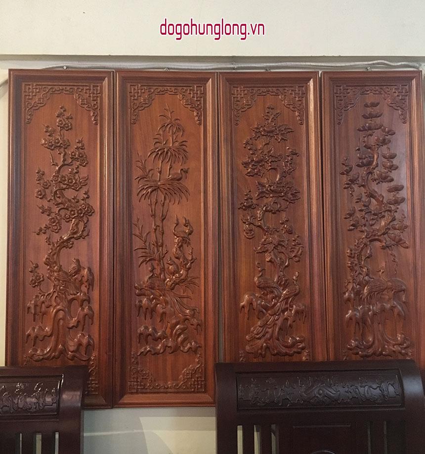 Tranh tứ quý gỗ hương size nhỏ hơn 30x100cm