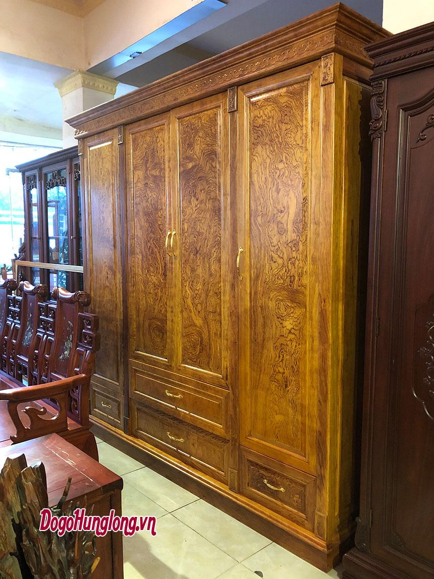 Tủ quần áo 4 buồng gỗ cẩm