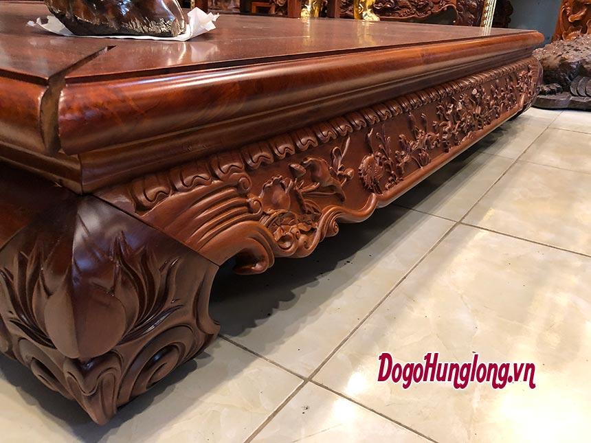 Sập gỗ hương, chân lùn. Mặt ghép 3 tấm. Kích thước 180x200cm.
