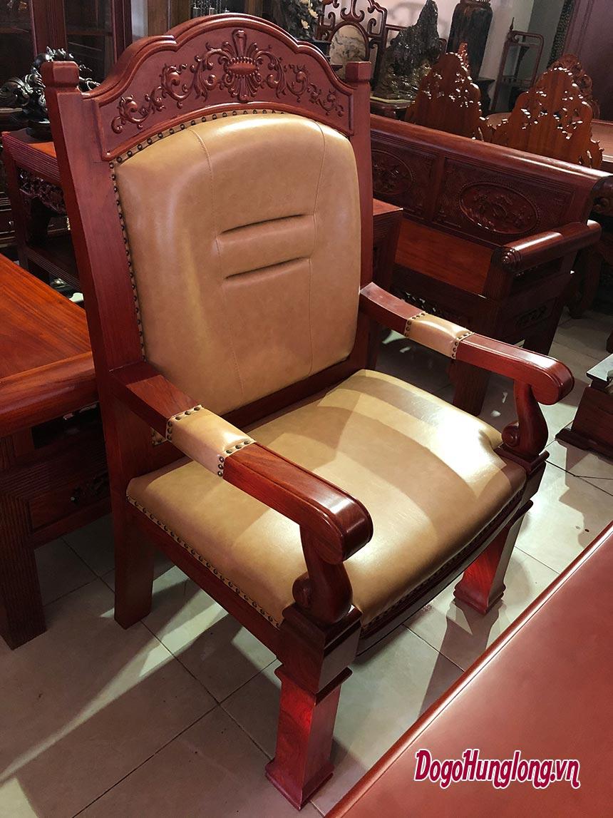 Ghế giám đốc gỗ hương, nệm và lưng bọc da cao cấp