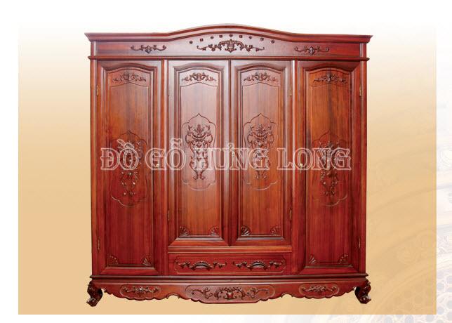 Tủ áo 3 buồng 4 cánh HLT gỗ Hương