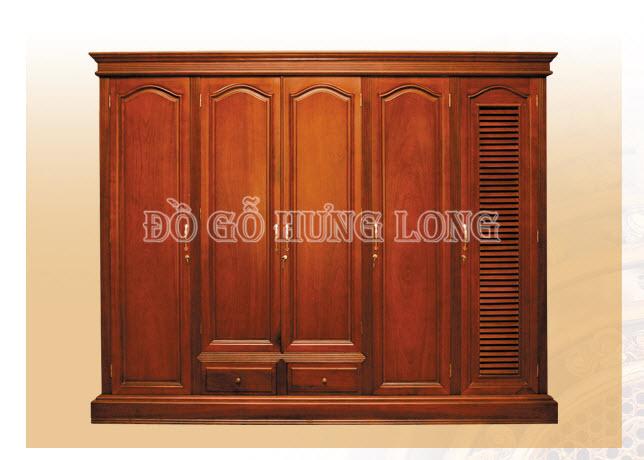 Tủ áo gỗ 4 buồng Triện Hoa