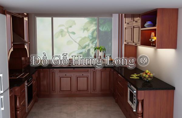 Tủ bếp HL - 08 gỗ gụ