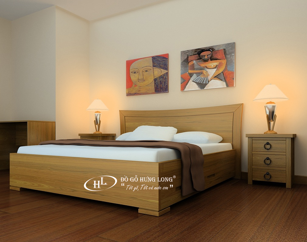Giường ngủ đồ gỗ hiện đại GN01